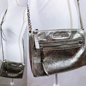 Michael Kors Metallic Silver Small Crossbody Bag
